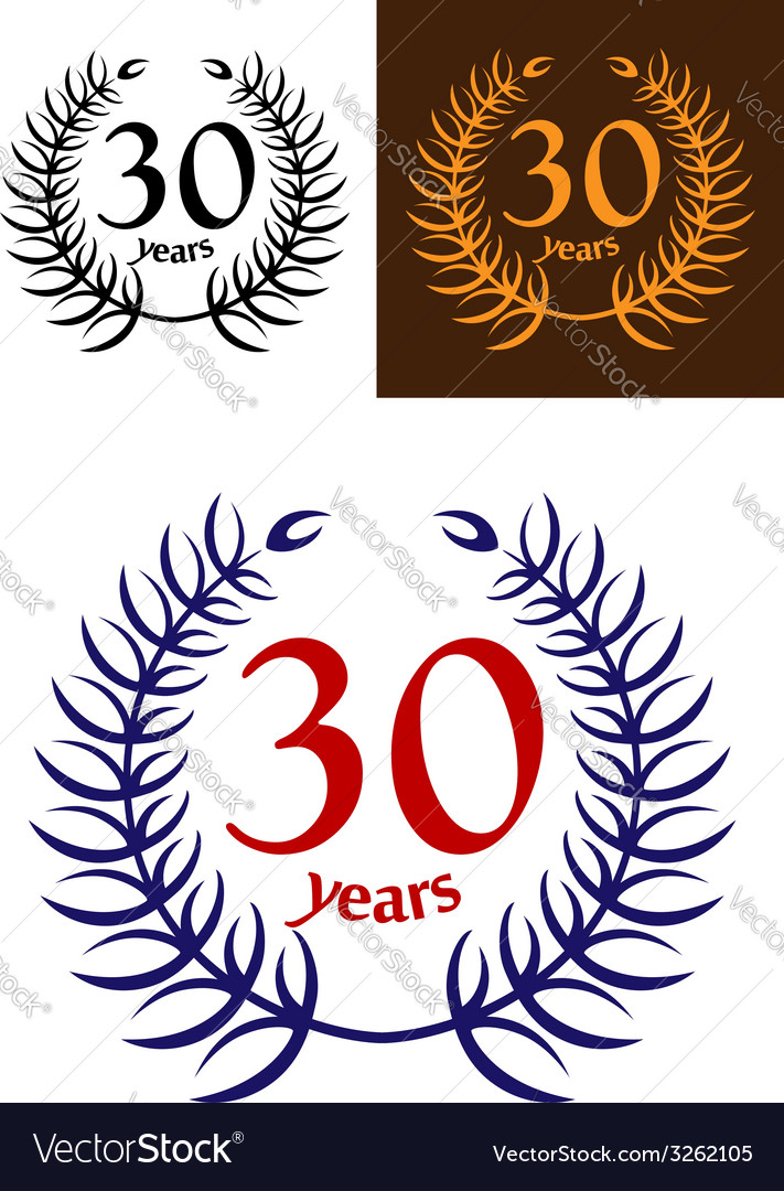 30 years anniversary laurel wreath vector | Price: 1 Credit (USD $1)