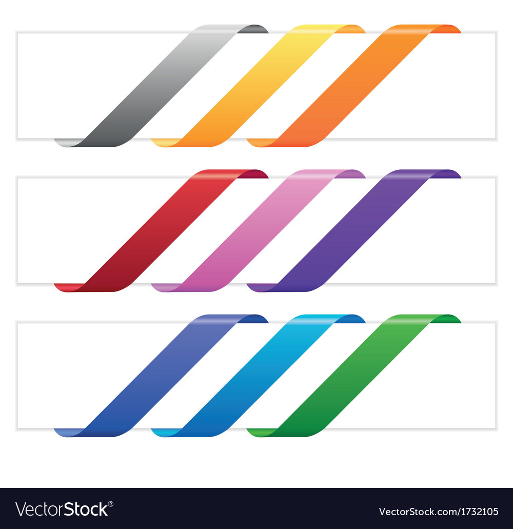 Banner ribbons in various colors vector | Price: 1 Credit (USD $1)