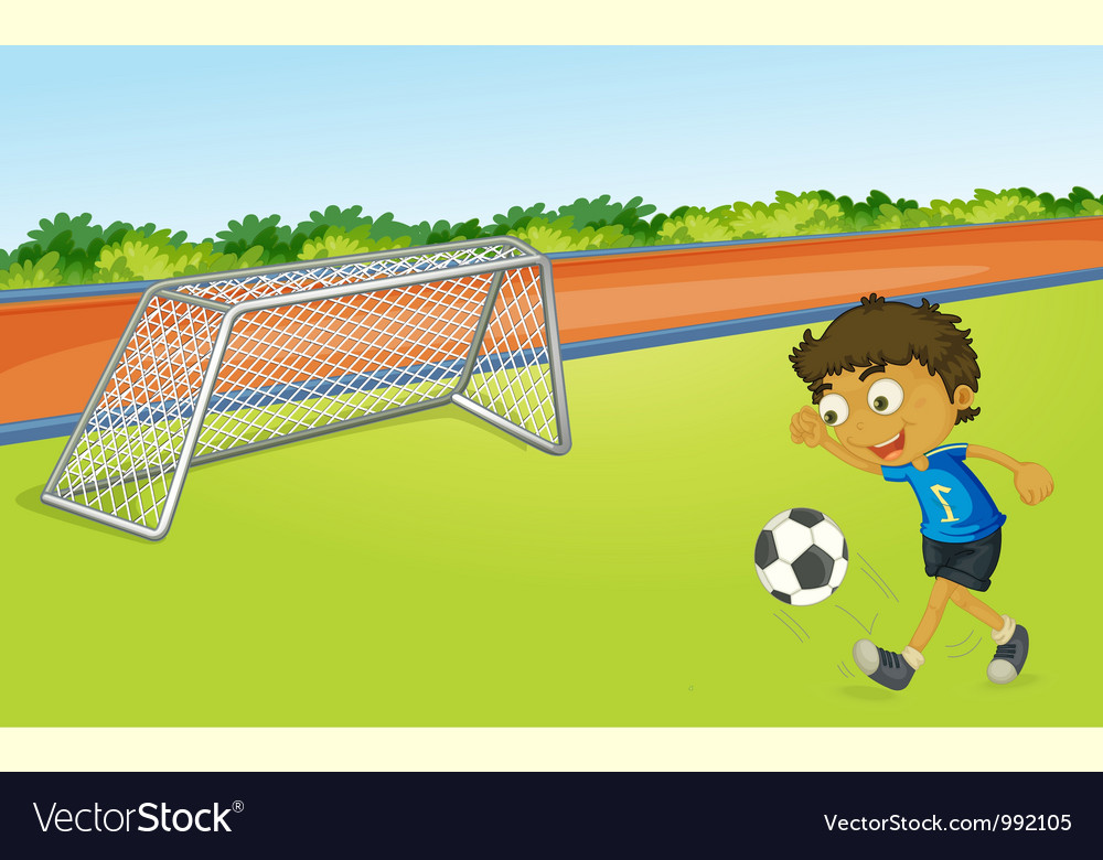 Boy playing football vector | Price: 1 Credit (USD $1)