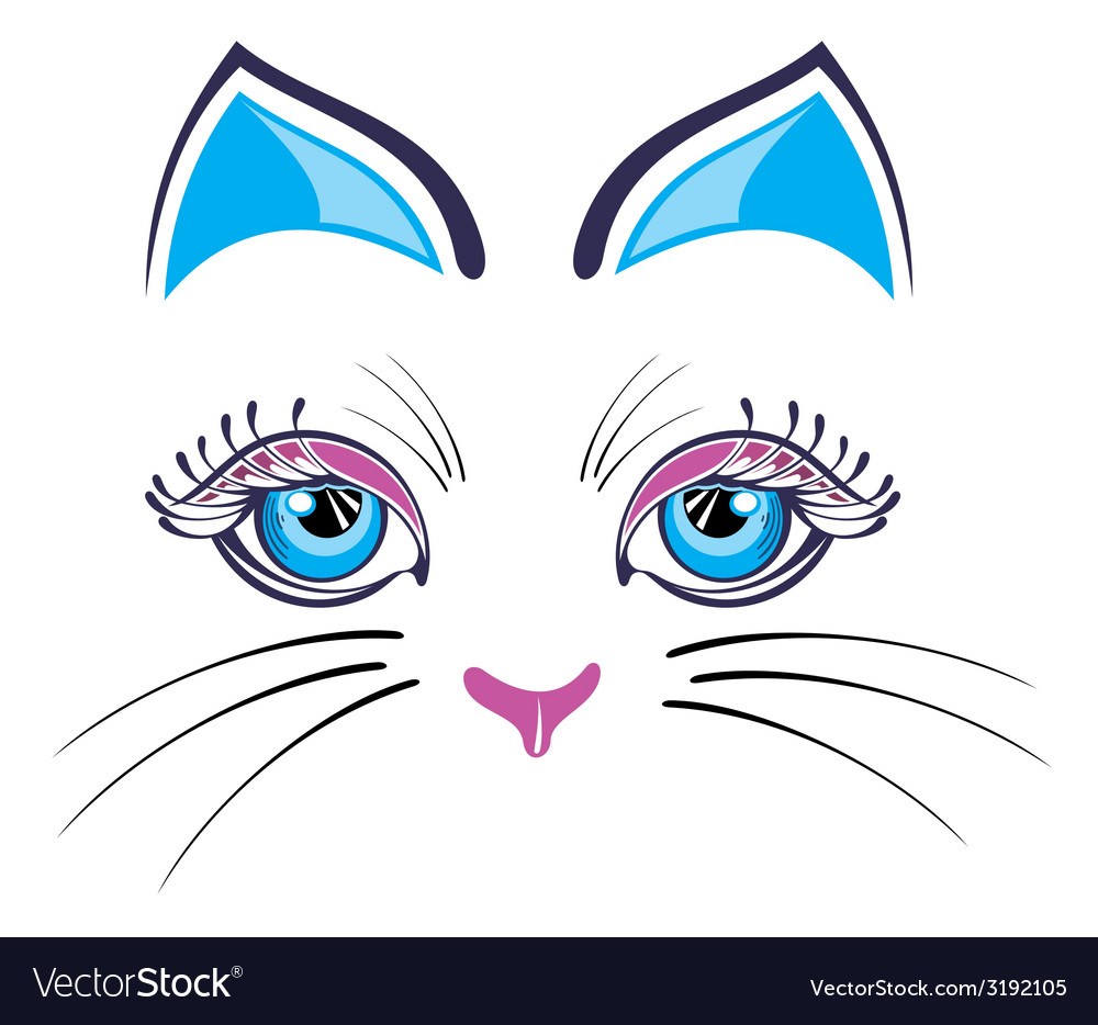 Cat with blue ears vector | Price: 1 Credit (USD $1)