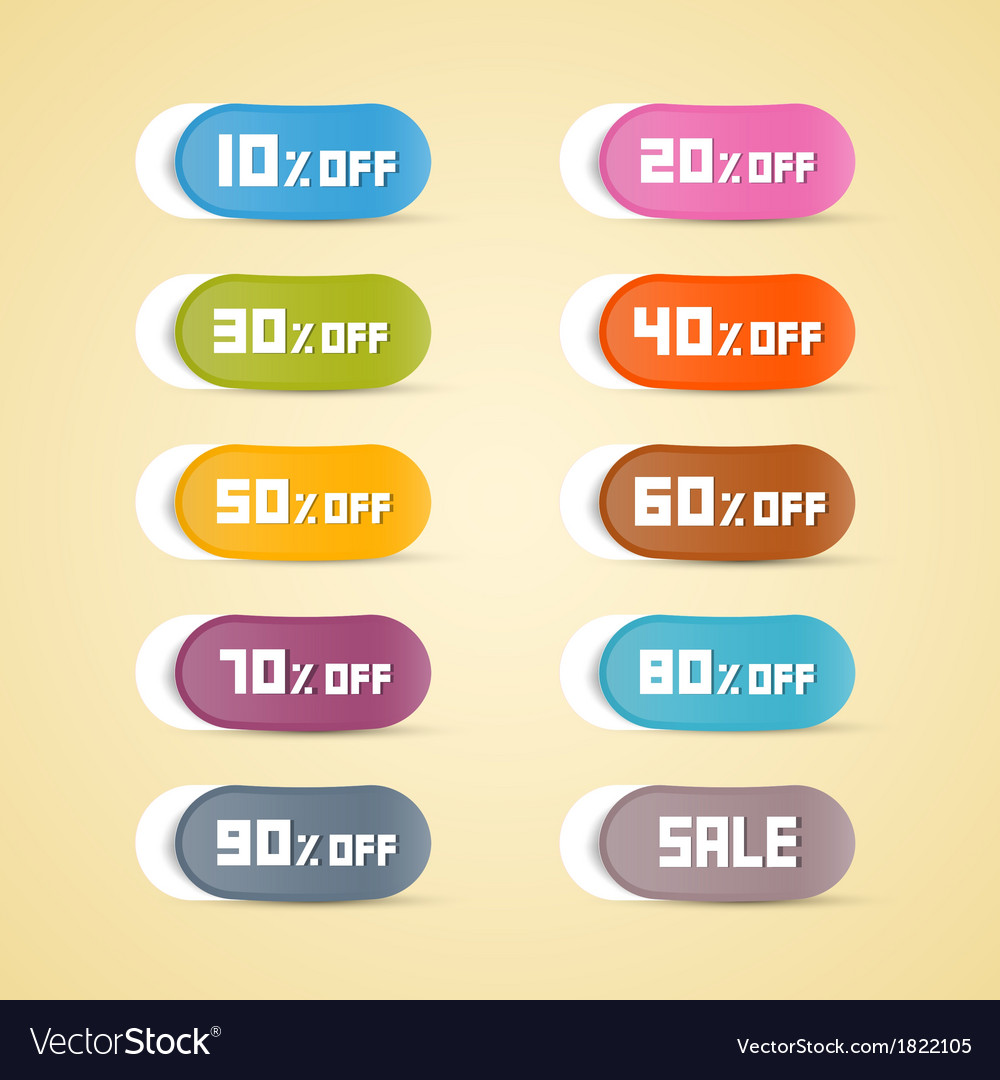 Colorful discount stickers labels vector | Price: 1 Credit (USD $1)