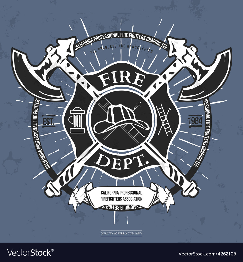 Fire dept label helmet with crossed axes t-shirt vector | Price: 1 Credit (USD $1)