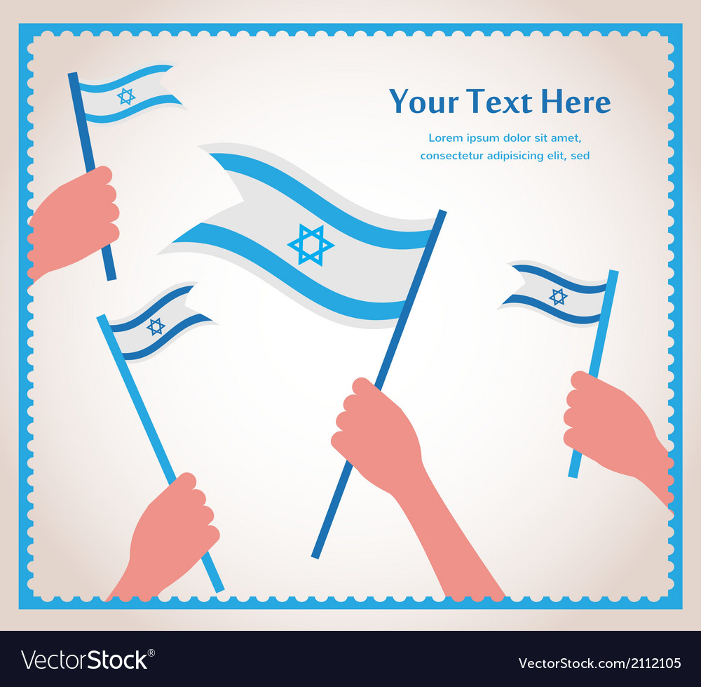 Happy israeli independence day hand holding a flag vector | Price: 1 Credit (USD $1)