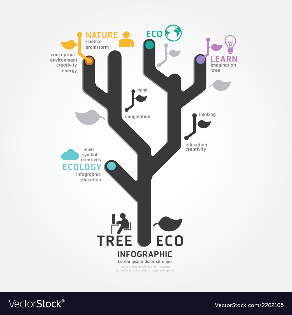 Infographics tree design diagram line style templa vector | Price: 1 Credit (USD $1)