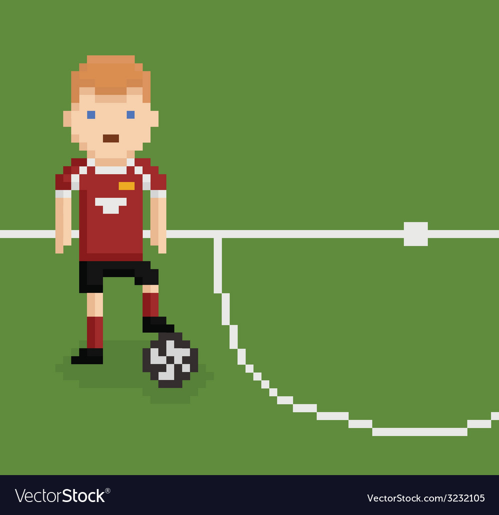 Pixel art style football soccer player on green vector | Price: 1 Credit (USD $1)