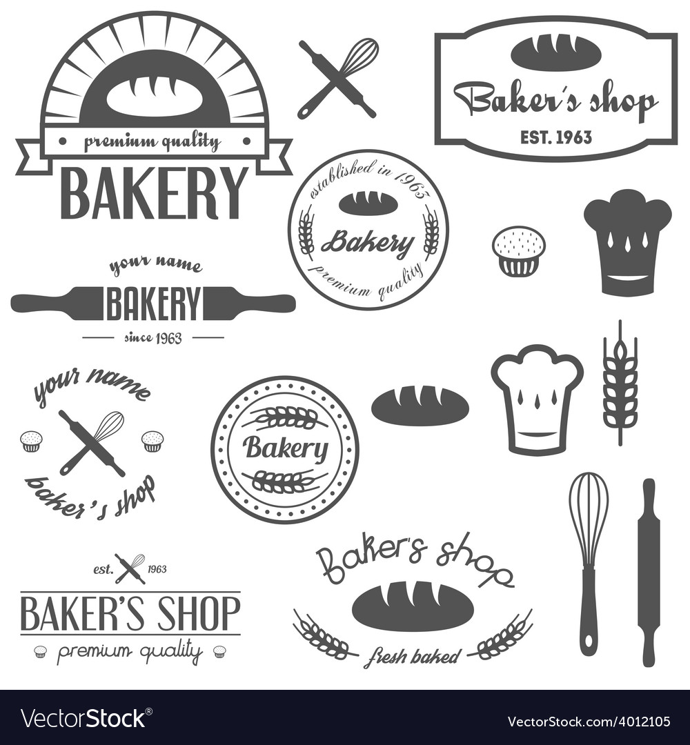 Set of vintage bakery logos labels badges and vector | Price: 1 Credit (USD $1)