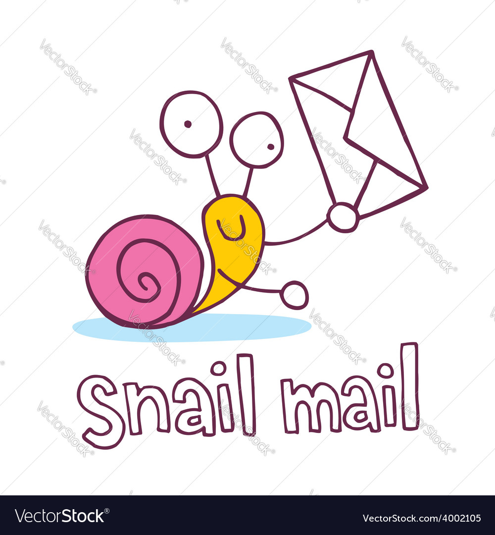 Snail mail cartoon character vector | Price: 1 Credit (USD $1)