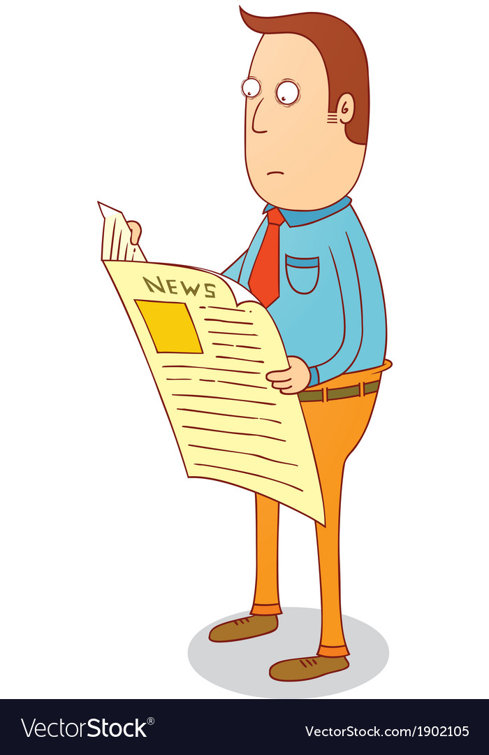 Standing and reading newspaper vector | Price: 1 Credit (USD $1)