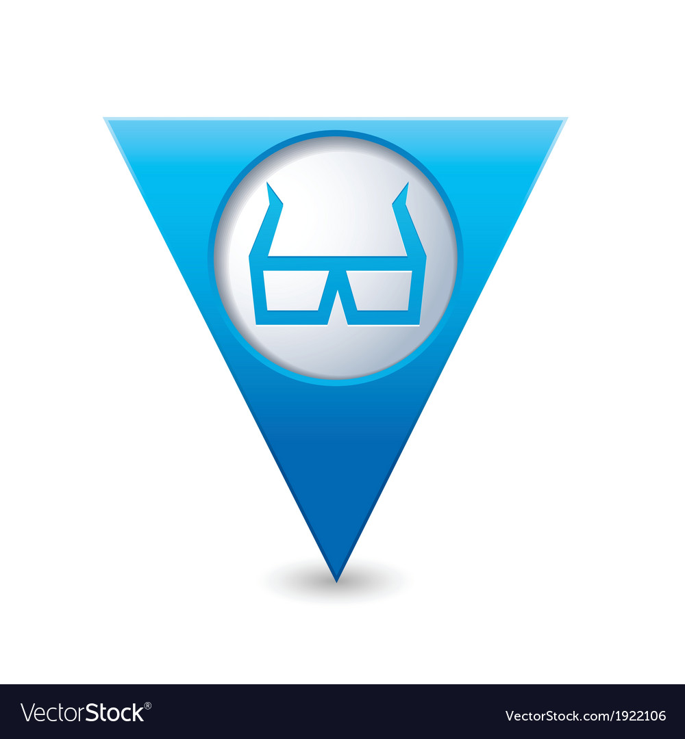 3d cinema glasses icon pointer blue vector | Price: 1 Credit (USD $1)