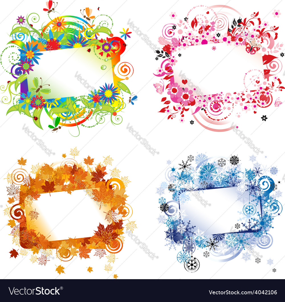 Four seasons design frames with place for your vector   Price: 1 Credit (USD $1)