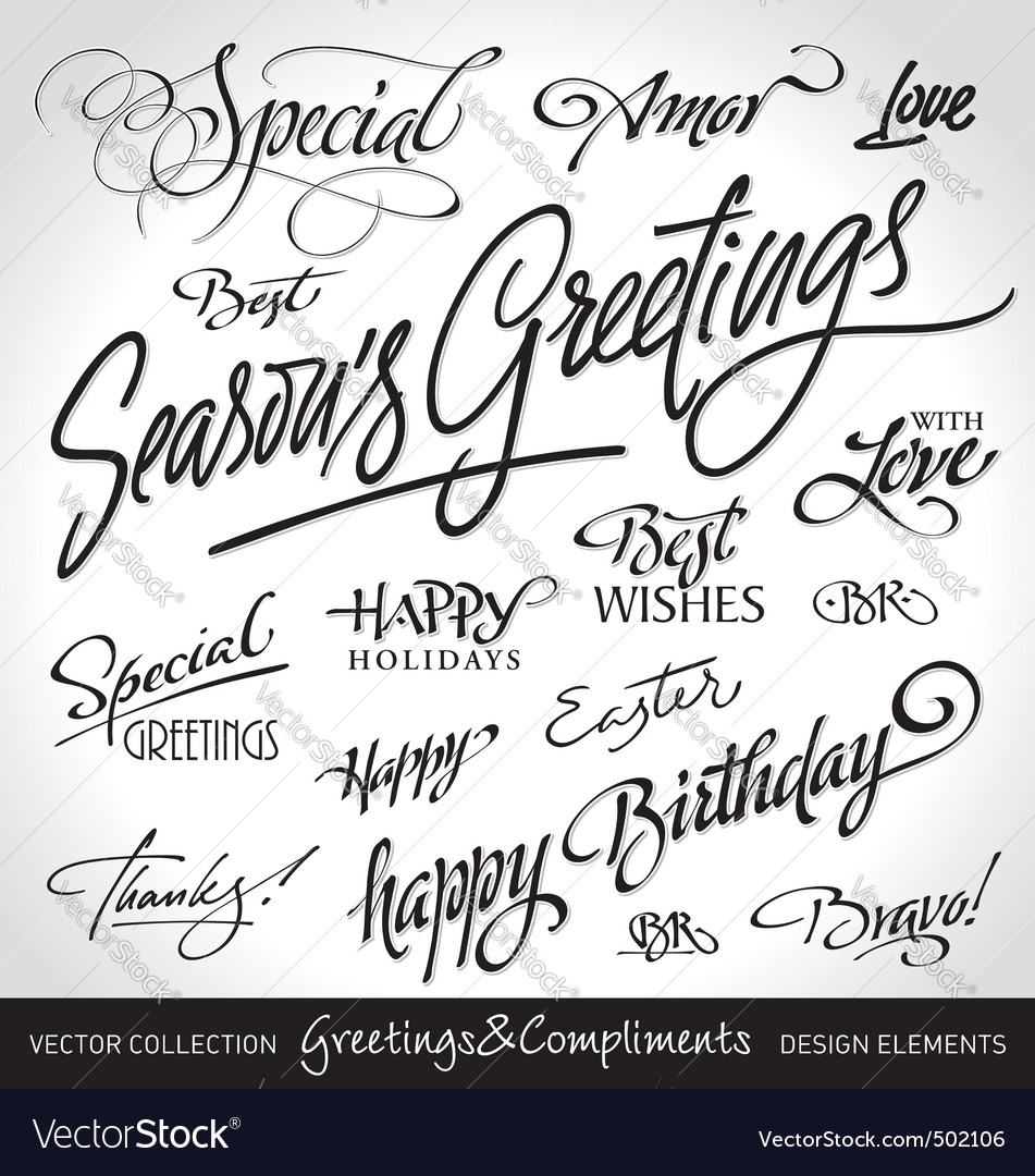 Greetings lettering set vector | Price: 1 Credit (USD $1)