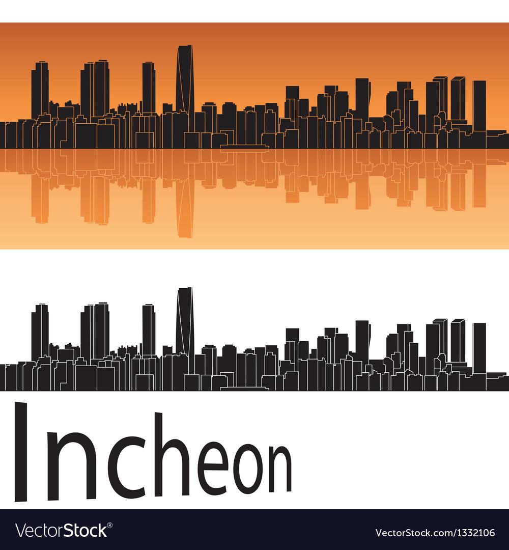 Incheon skyline in orange background vector | Price: 1 Credit (USD $1)