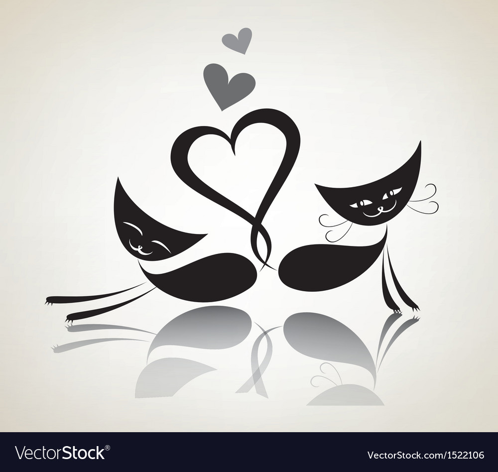Romantic black cats happy couple vector | Price: 1 Credit (USD $1)