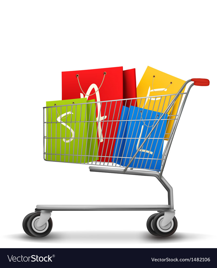 Shopping bags with sale in shopping cart concept vector | Price: 1 Credit (USD $1)