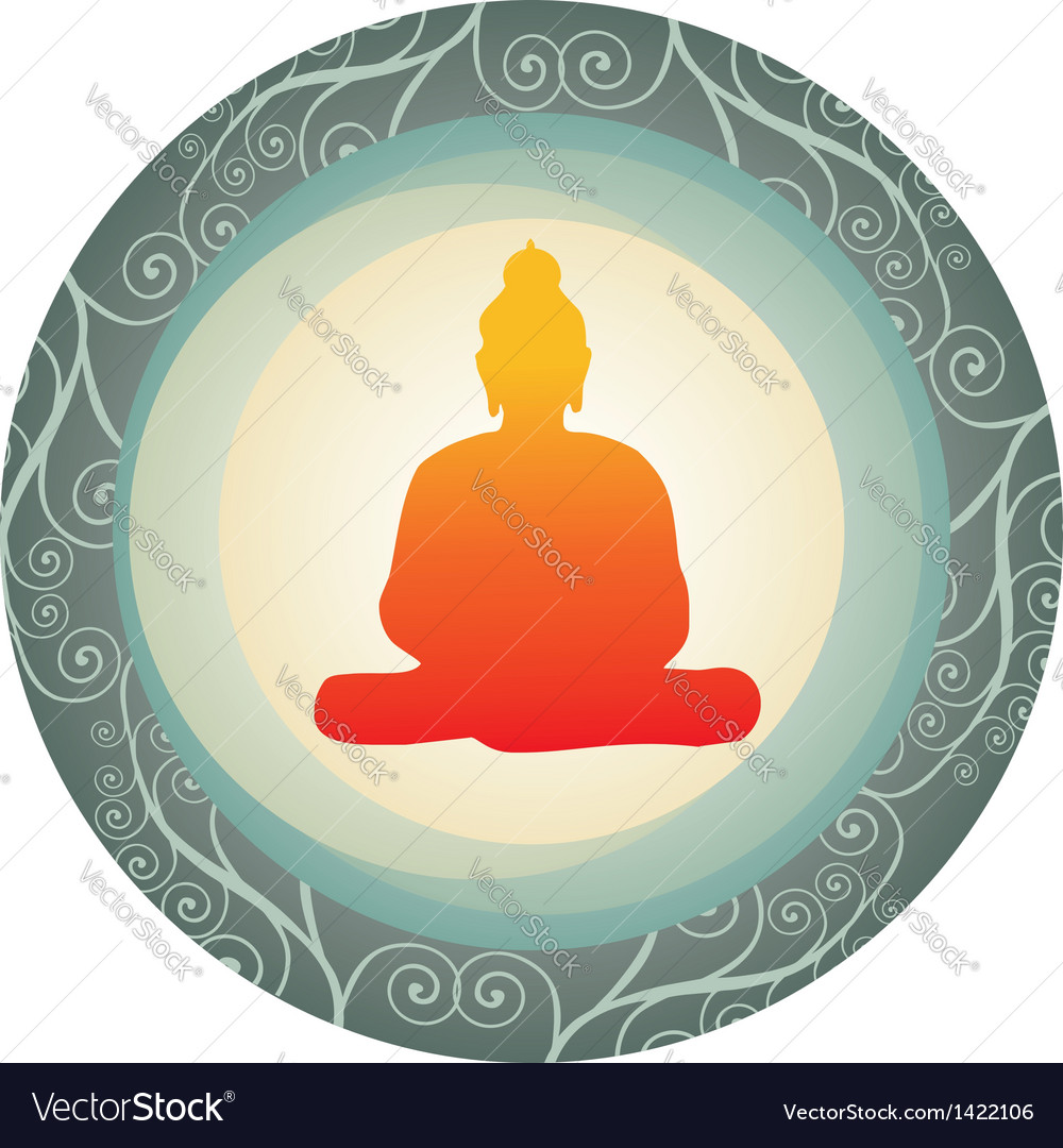 Silhouette of buddha in a circle vector | Price: 1 Credit (USD $1)