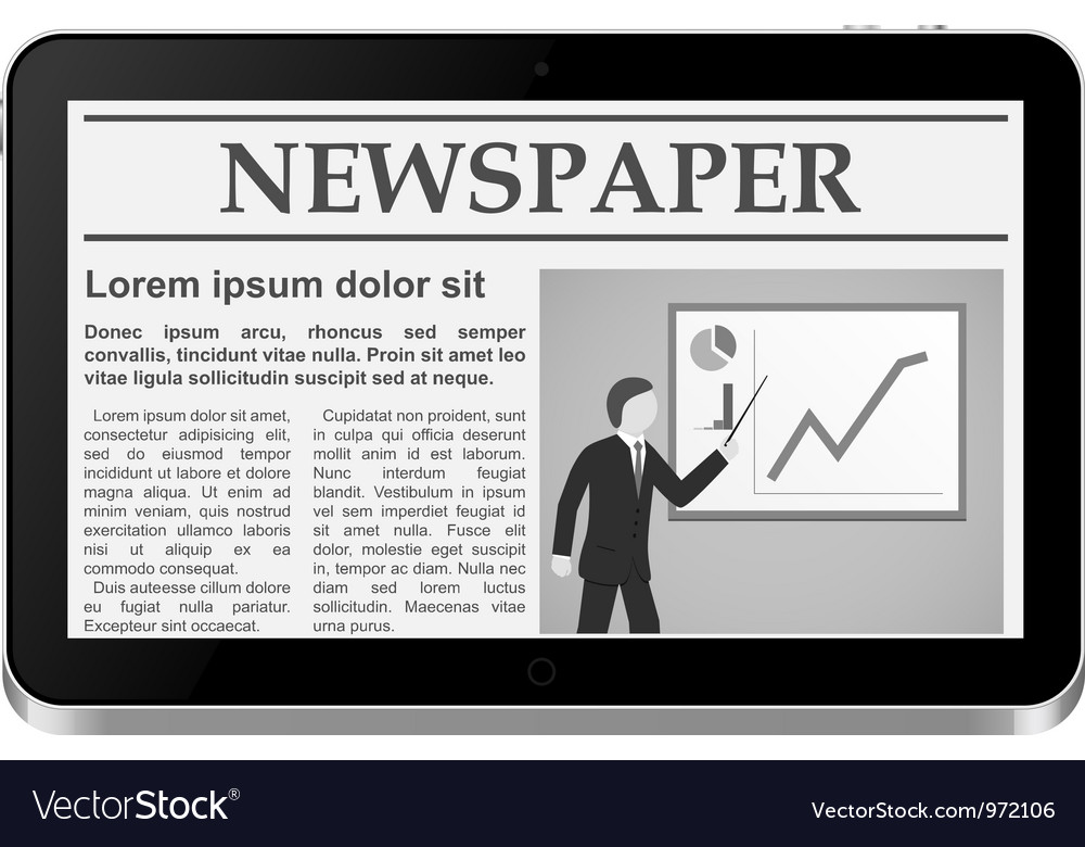 Tablet pc with online newspaper vector | Price: 1 Credit (USD $1)