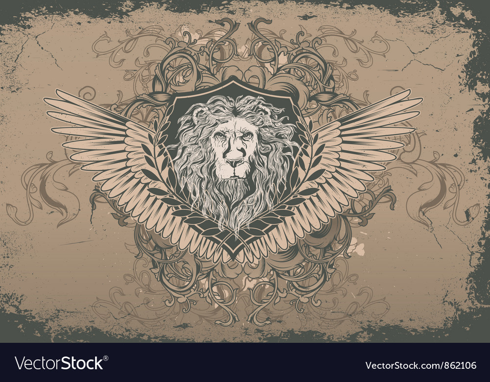 Vintage background with lion head vector | Price: 1 Credit (USD $1)