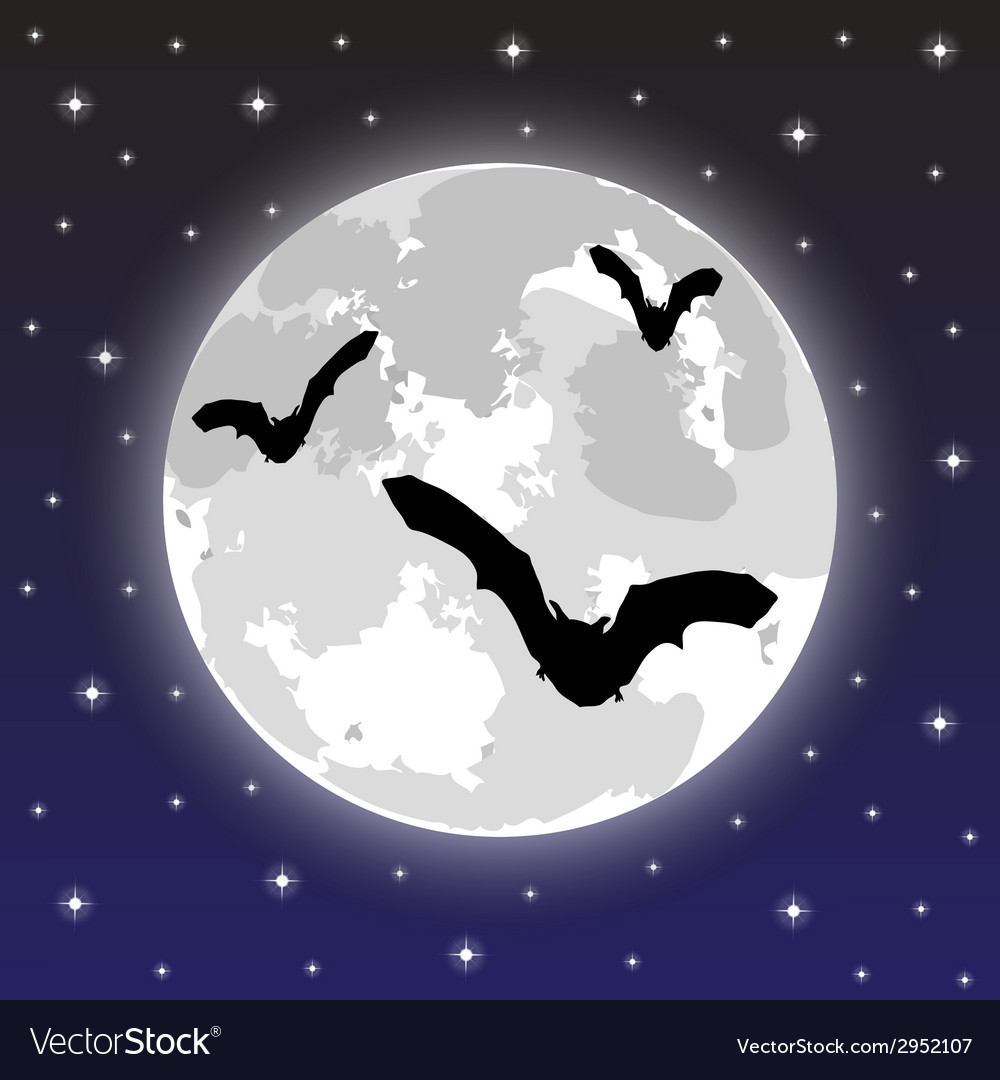 Bats on the background of the full moon vector | Price: 1 Credit (USD $1)