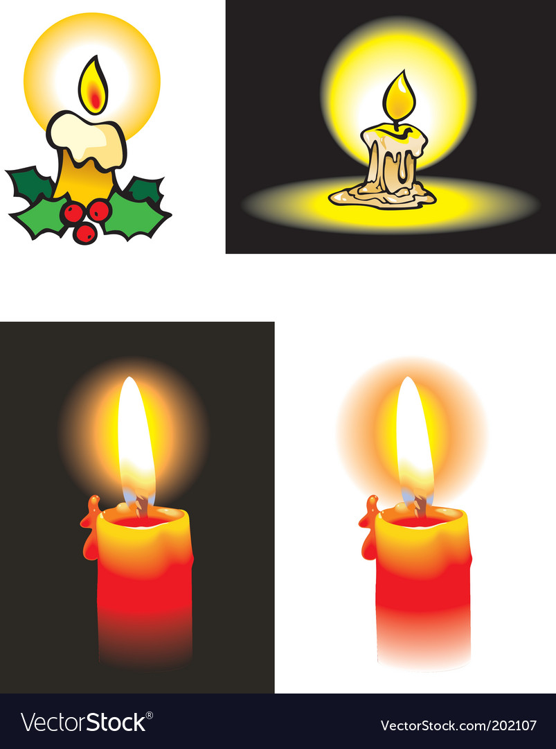 Collection of burning candles vector | Price: 1 Credit (USD $1)