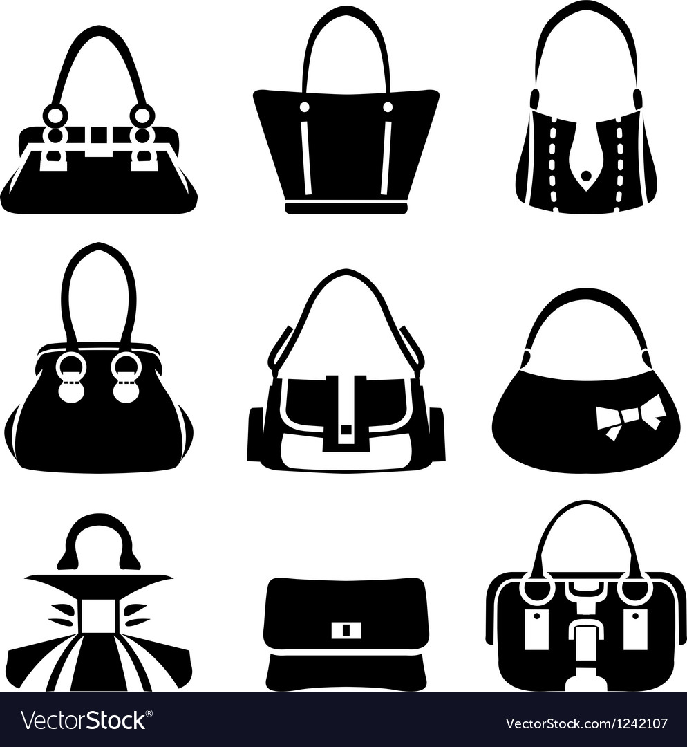 Icons of female bags vector | Price: 1 Credit (USD $1)
