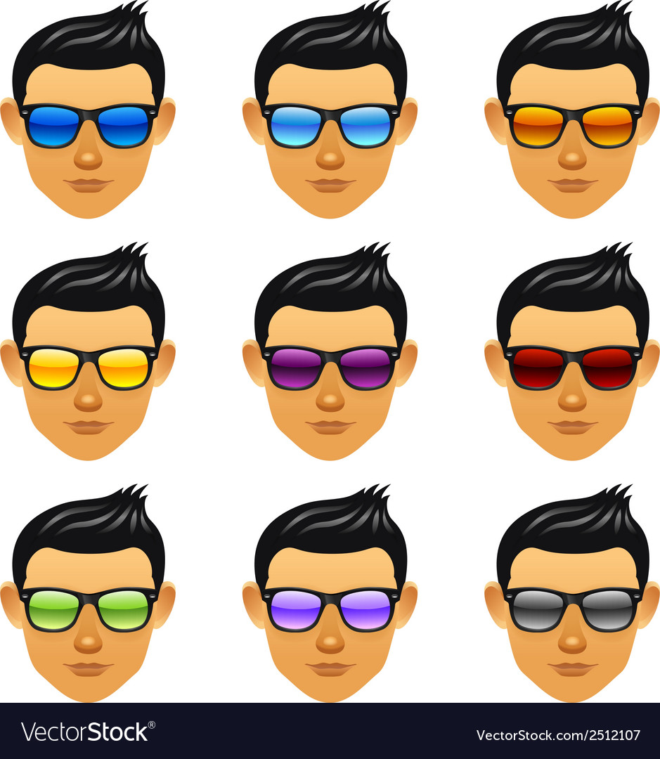 Male boy head with sunglasses vector | Price: 1 Credit (USD $1)