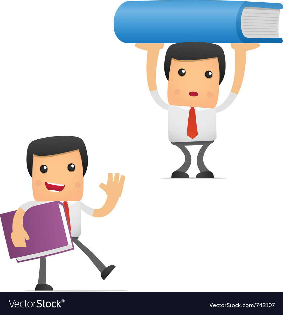 Manager with books vector | Price: 1 Credit (USD $1)
