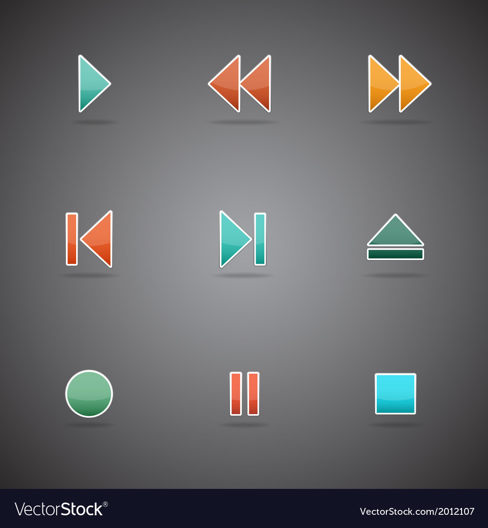 Media player web icons vector   Price: 1 Credit (USD $1)