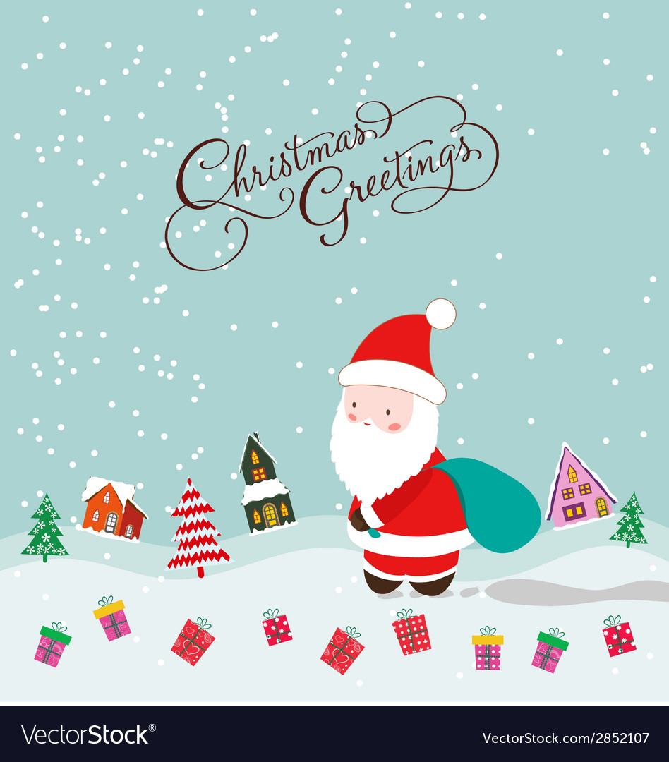 Merry christmas with santa claus and gift vector | Price: 1 Credit (USD $1)