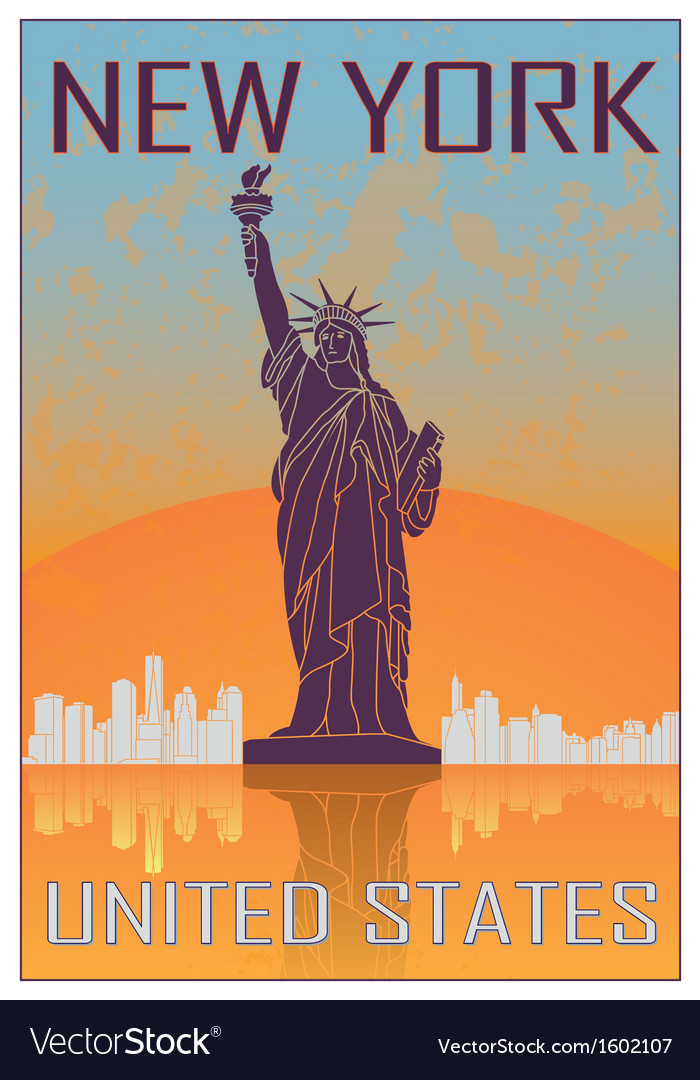 New york vintage poster vector | Price: 1 Credit (USD $1)