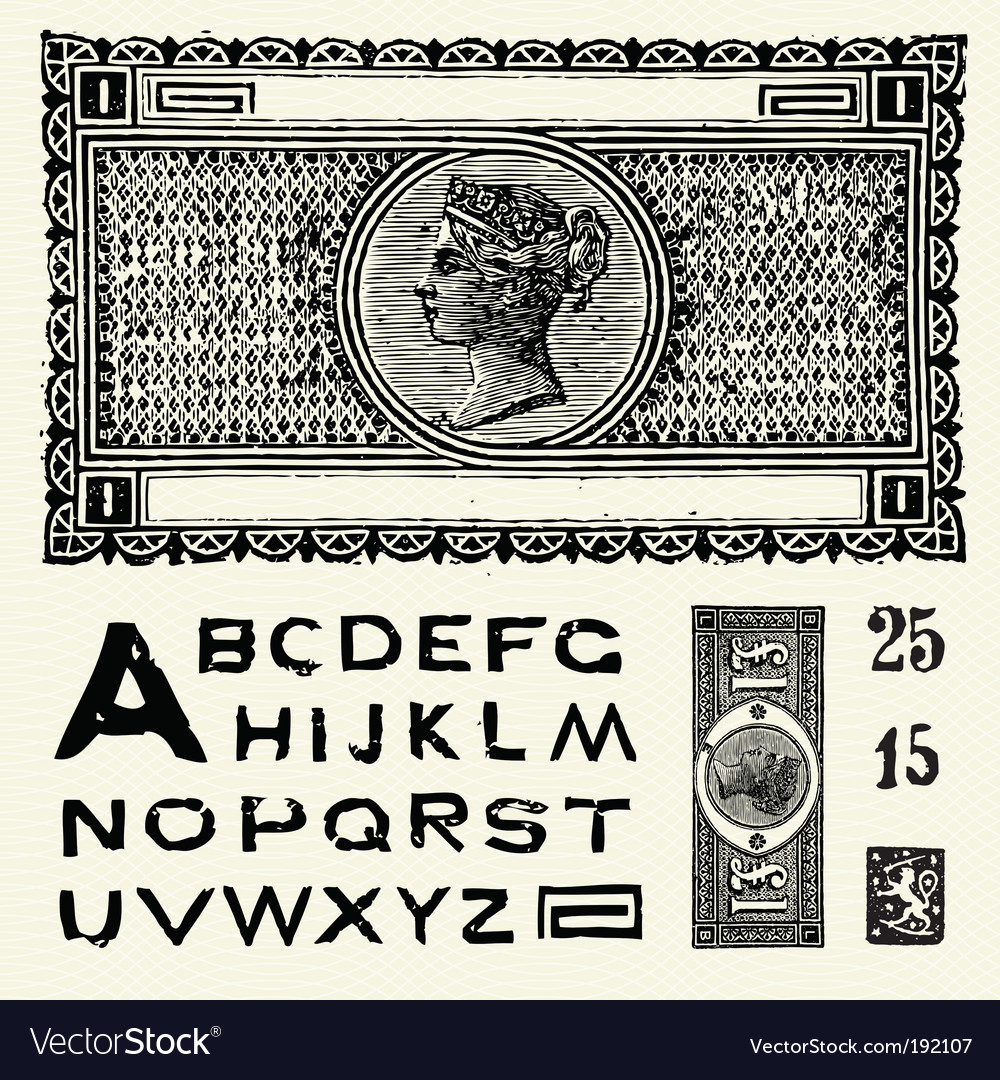 Old world currency and font vector | Price: 1 Credit (USD $1)