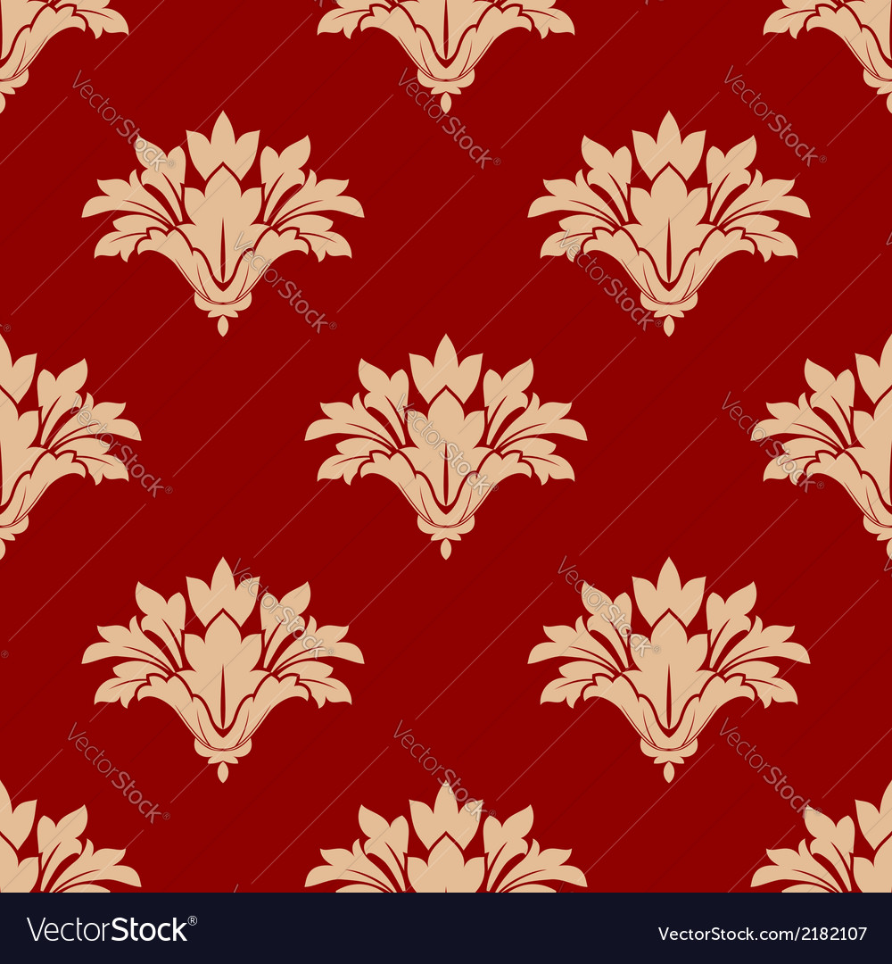 Red and beige floral seamless patern vector | Price: 1 Credit (USD $1)