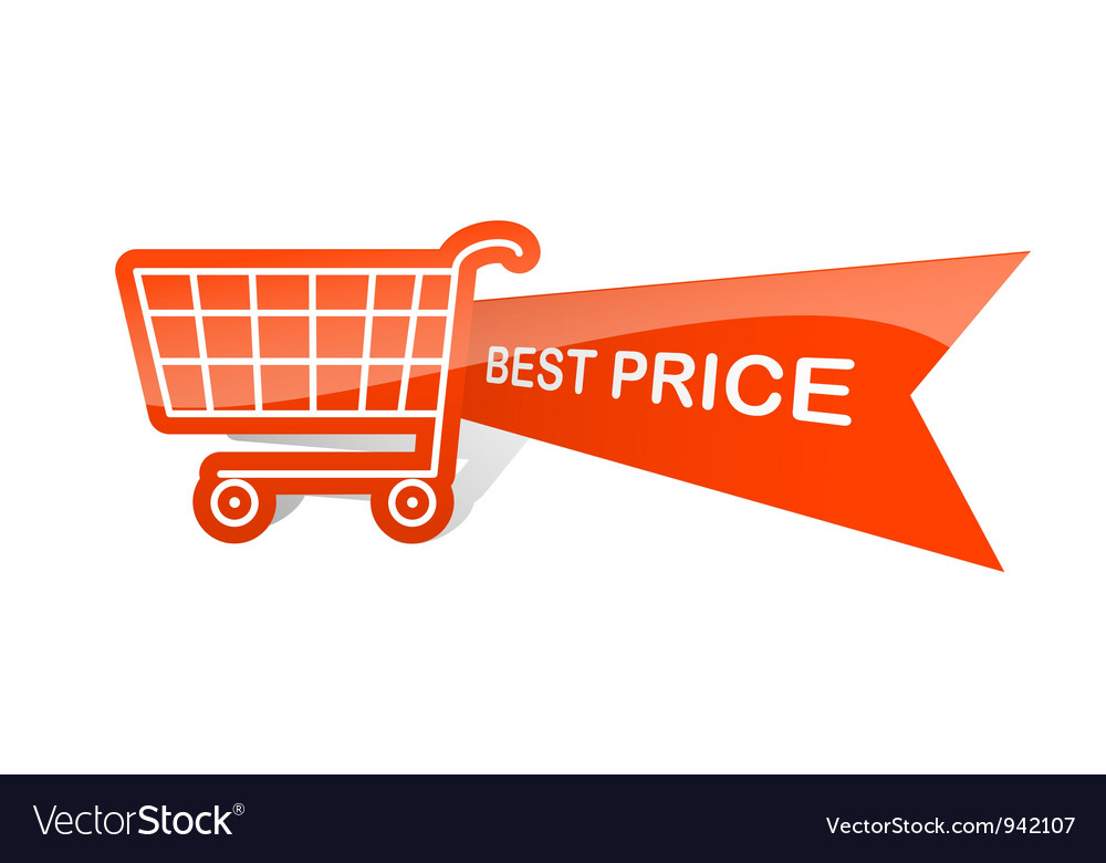 Sale design sticker with shopping basket best vector | Price: 1 Credit (USD $1)