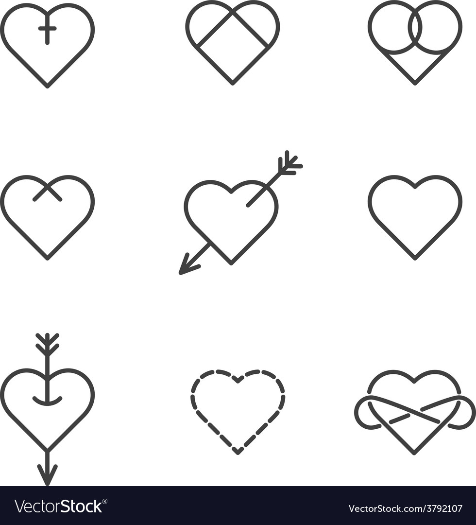 Set of nine lined hearts in tattoo style vector | Price: 1 Credit (USD $1)