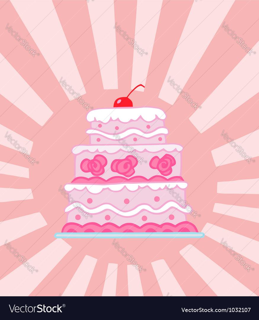 Triple tiered pink wedding cake vector   Price: 1 Credit (USD $1)