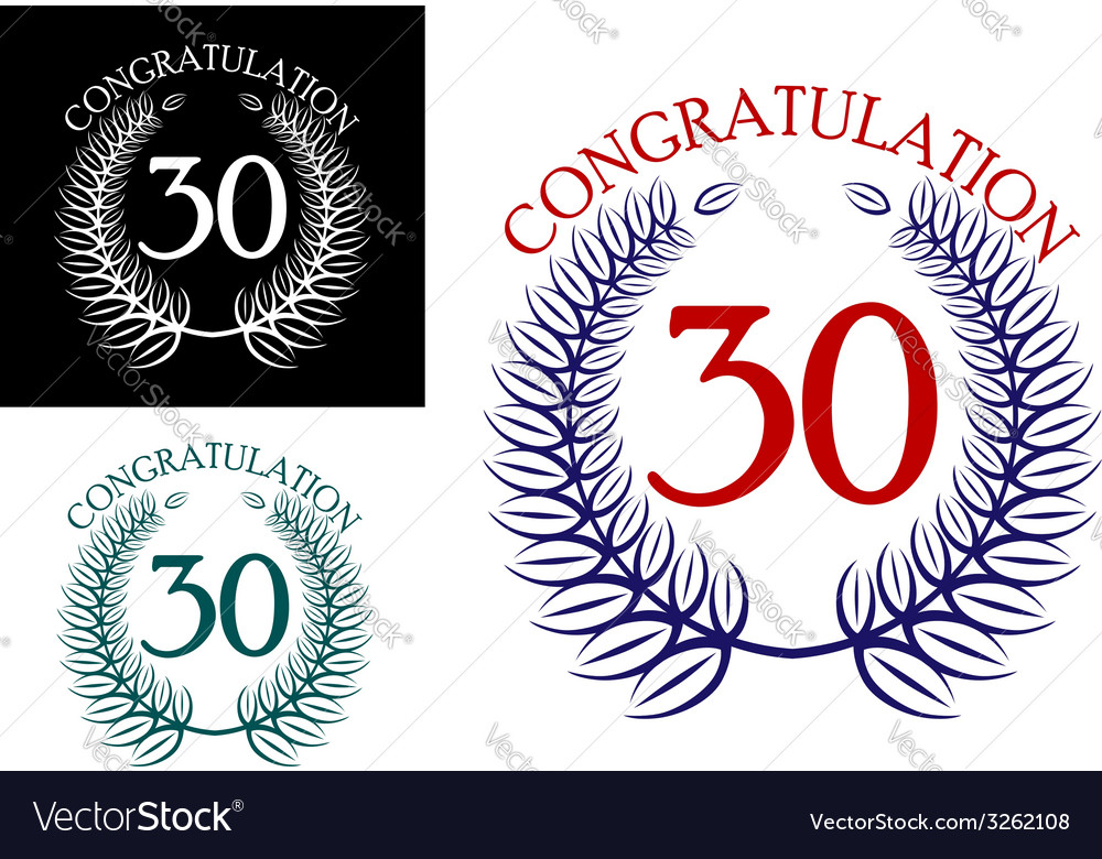 30 th anniversary congratulation wreaths vector | Price: 1 Credit (USD $1)
