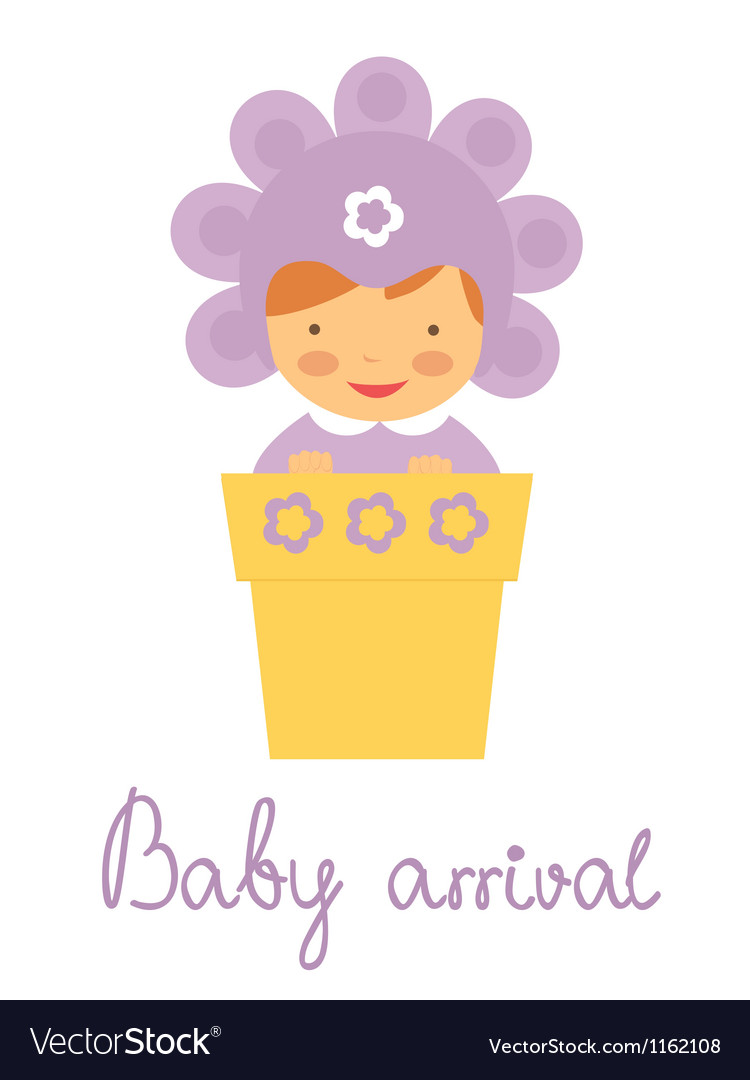 Baby arrival baby in pot vector | Price: 1 Credit (USD $1)