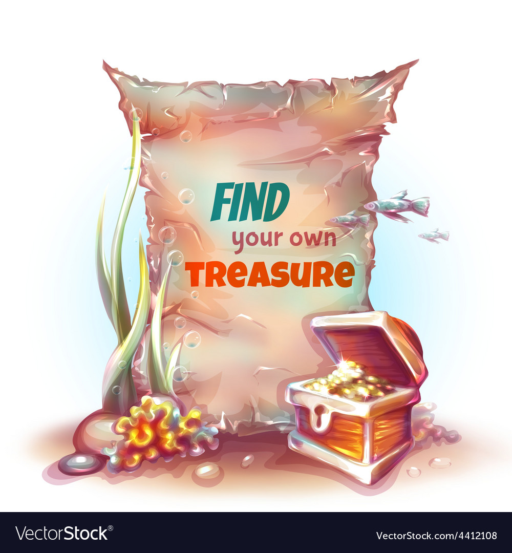 Banner with treasure chest in ocean vector | Price: 3 Credit (USD $3)