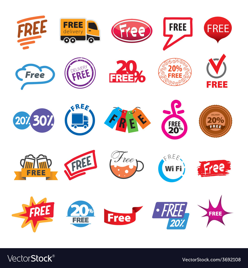 Big set of logos free vector | Price: 1 Credit (USD $1)