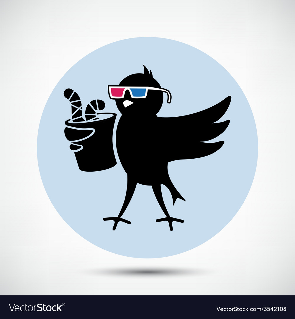 Bird with 3d glasses vector | Price: 1 Credit (USD $1)