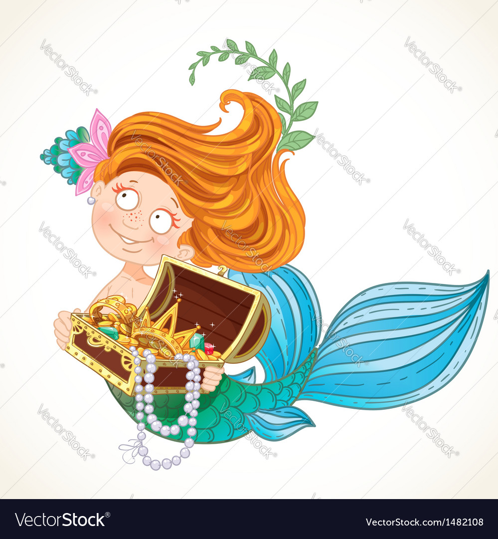 Cute little mermaid holding a treasure chest vector | Price: 3 Credit (USD $3)