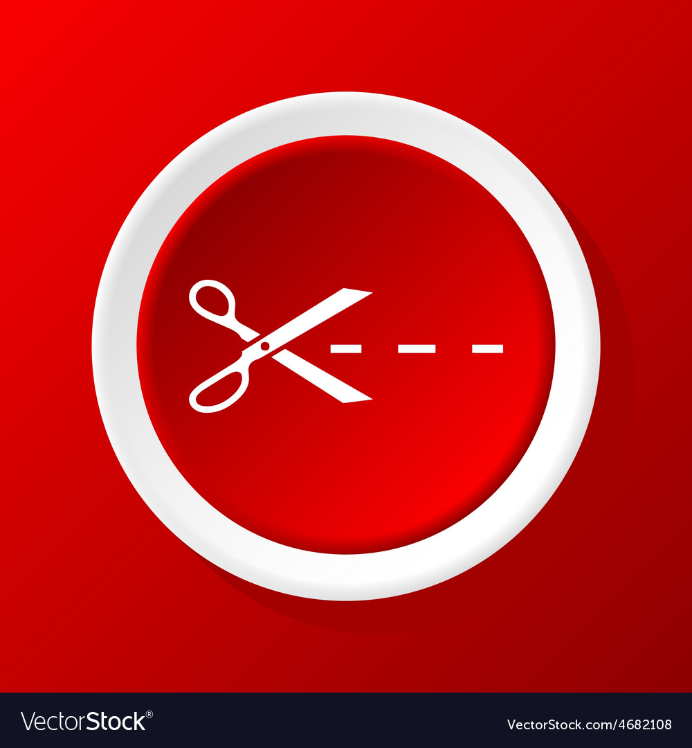 Cutting scissors icon on red vector | Price: 1 Credit (USD $1)