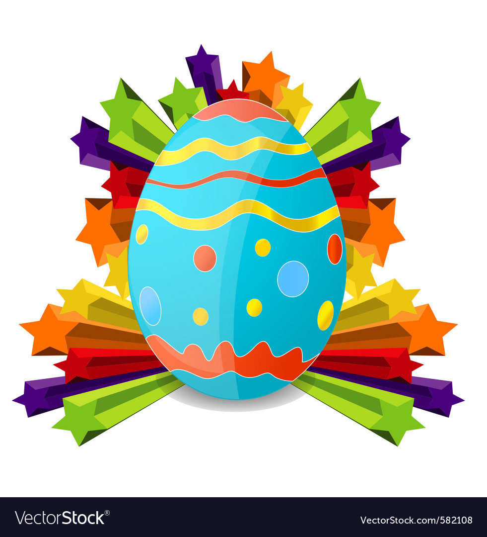 Easter egg on the colored stars vector | Price: 1 Credit (USD $1)