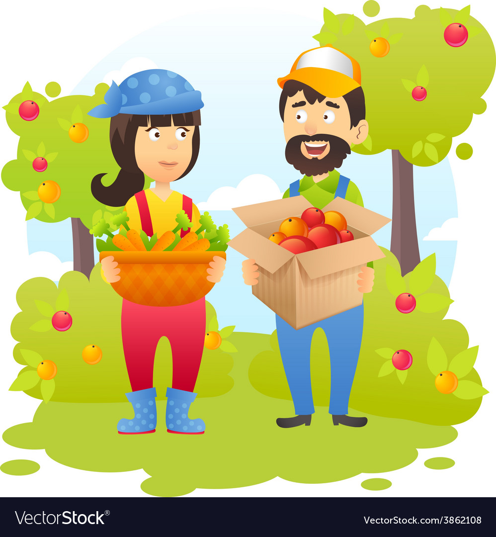 Farmers in garden vector | Price: 1 Credit (USD $1)