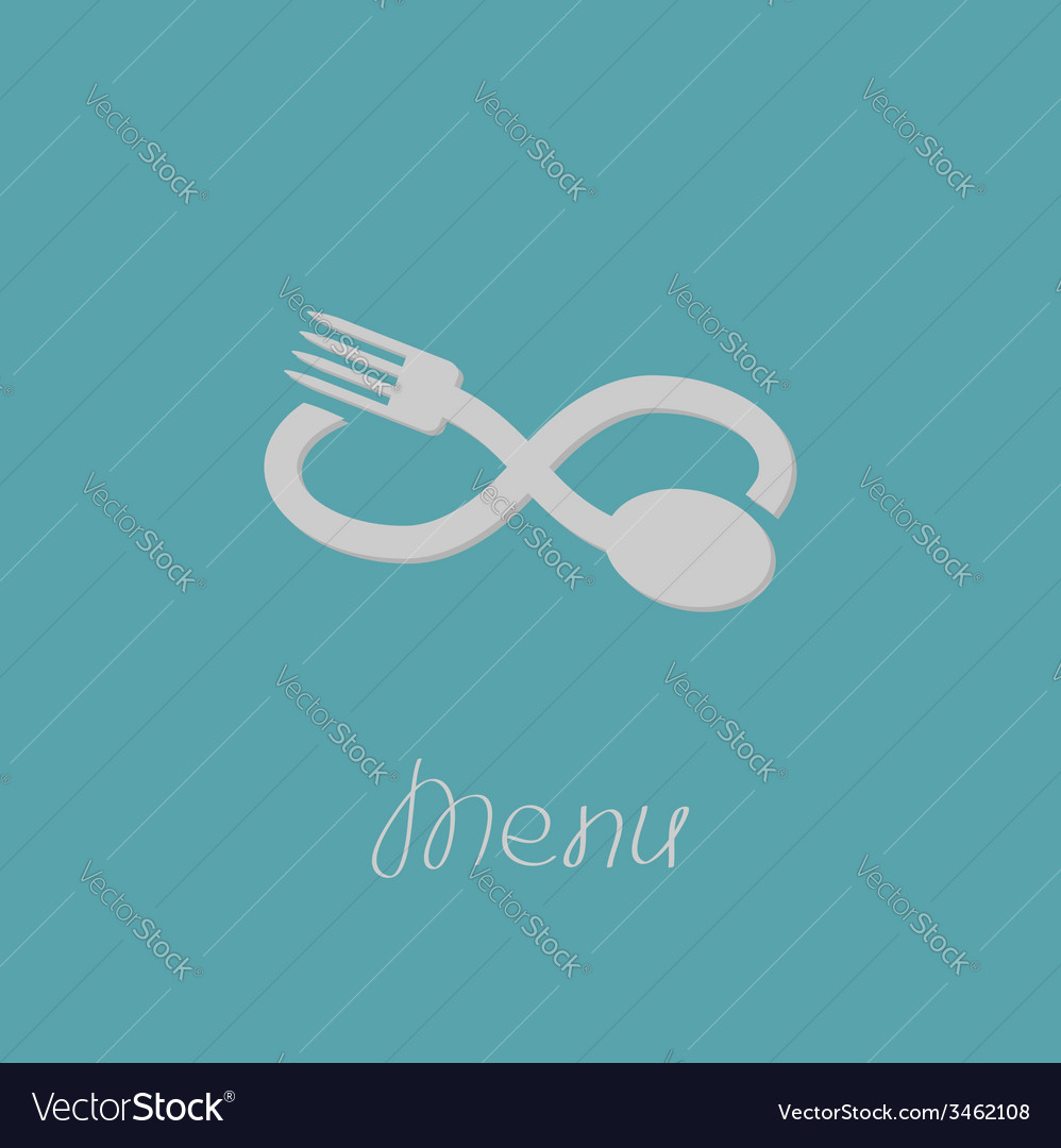 Fork spoon and infinity sign menu card flat design vector | Price: 1 Credit (USD $1)