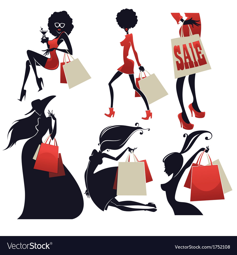 Girls and shopping bags vector | Price: 1 Credit (USD $1)