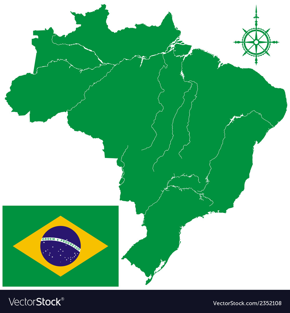 Map of brazil and flag vector | Price: 1 Credit (USD $1)
