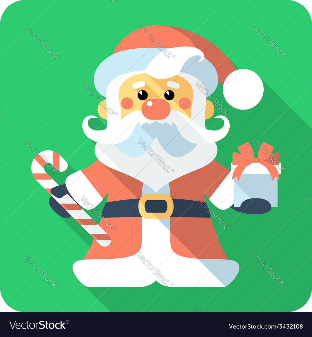 Santa claus standing with gifts icon flat design vector   Price: 1 Credit (USD $1)