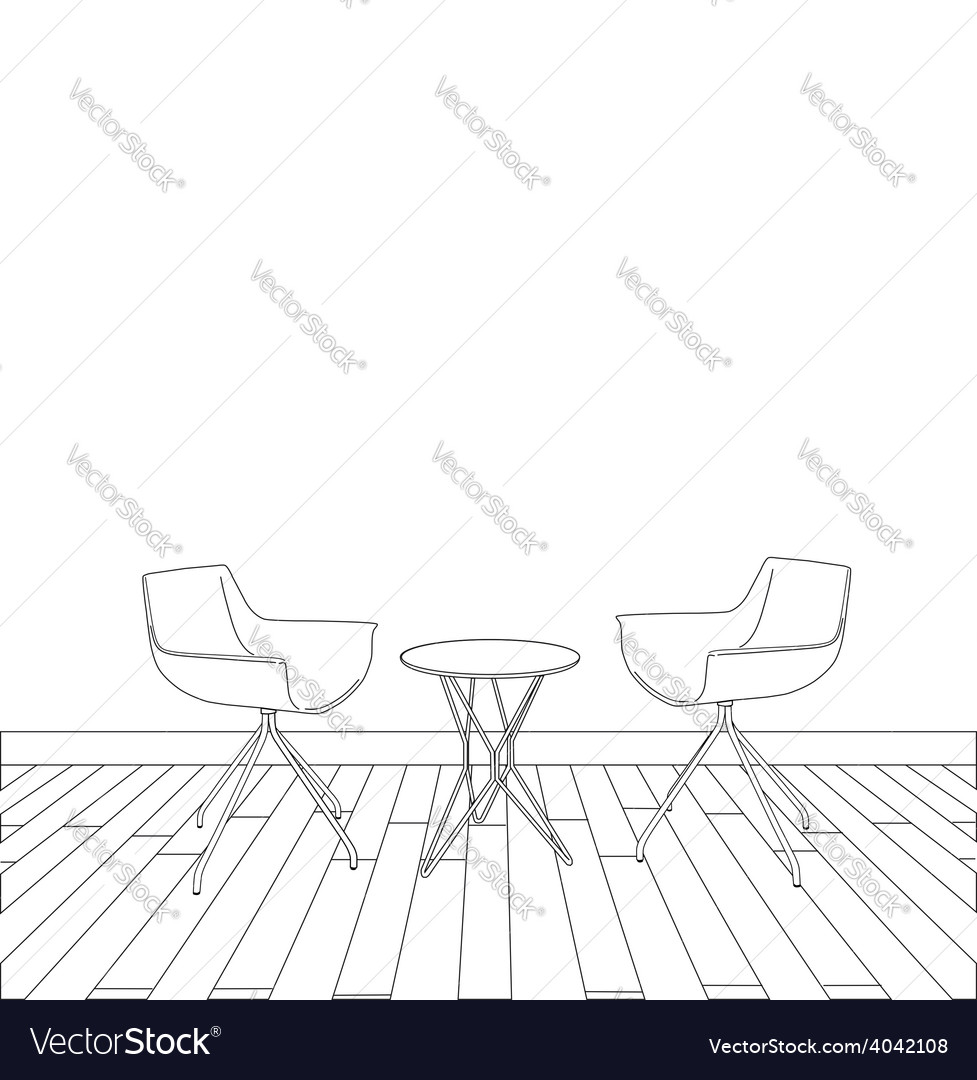 Sketch of modern interior table and chairs vector | Price: 1 Credit (USD $1)