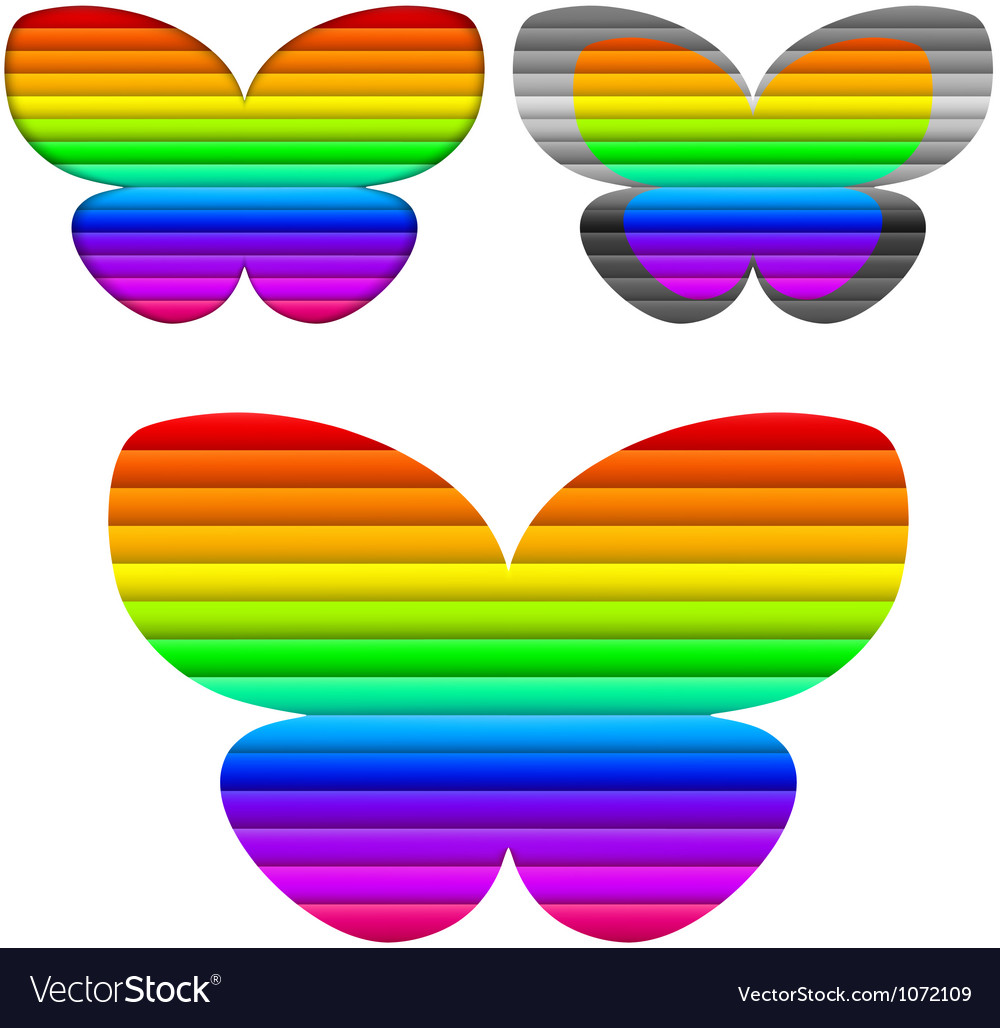 Butterfly color set vector | Price: 1 Credit (USD $1)