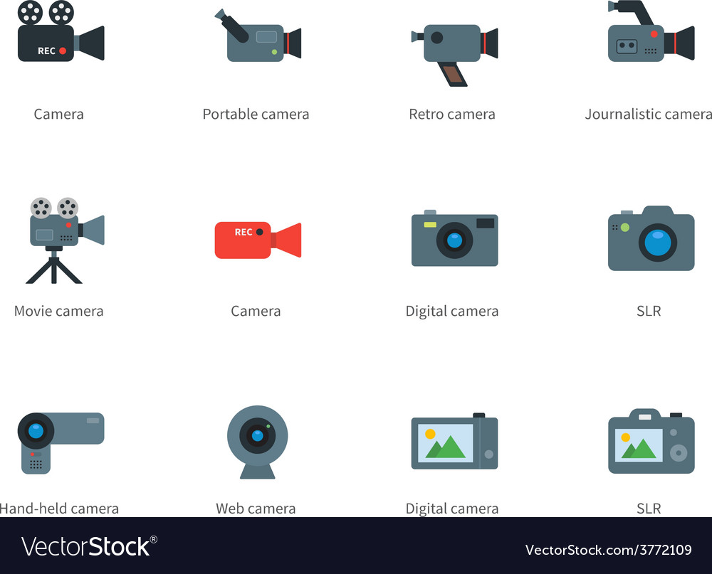 Camera color icons on white background vector | Price: 1 Credit (USD $1)